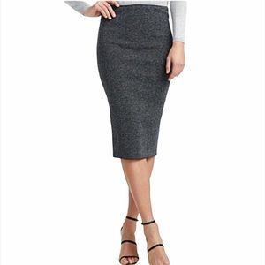 Icône Simons Heather Grey Knit Pencil Midi Skirt